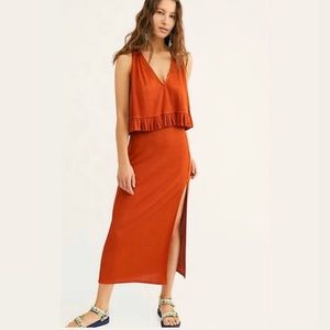 Free People Terracotta Top and Skirt Set
